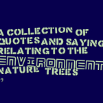 A collection of quotes and sayings relating to the environment, nature & trees